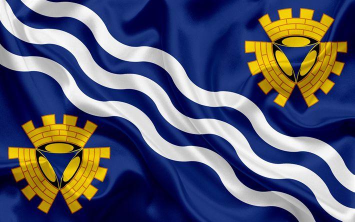 Scarica sfondi Contea di Merseyside Bandiera, Inghilterra, bandiere delle contee inglesi, Bandiera del Merseyside, British Contea di Bandiere, di seta, bandiera, Merseyside
