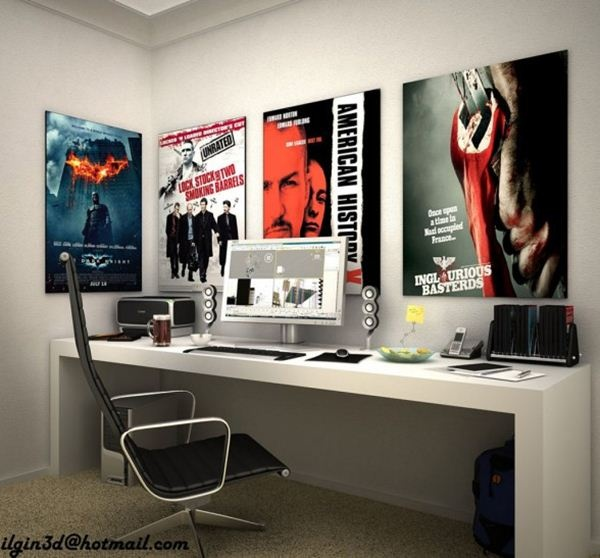 like that long desk: Offices Rooms, Creative Workspace, Offices Spaces, Interiors Design, Poster, Movies Rooms, Offices Workspace, Leather Chairs, Wall Design