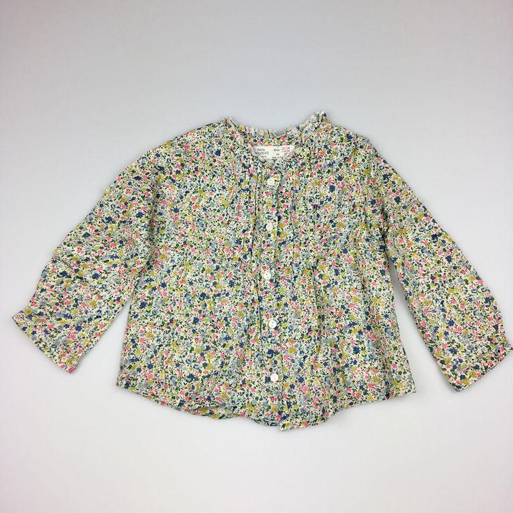 ZARA, girl's floral cotton blouse, excellent pre-loved condition (EUC), size 12-18 months, $7 #girlsfashion #kidsfashion #Zara