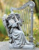 Josephs Studio Garden Wind Chime, 68367, Angel with Harp Wind Chimes, 10 inches tall