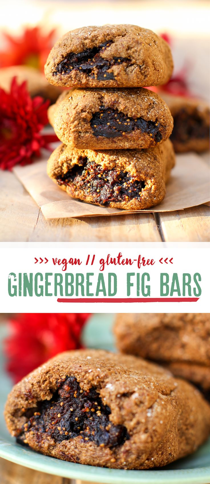 VEGAN (gluten free) Gingerbread Fig Bars