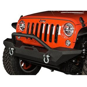 JK Jeep Wrangler Black Textured Wrecking Ball Havoc Front Bumper with D-Rings