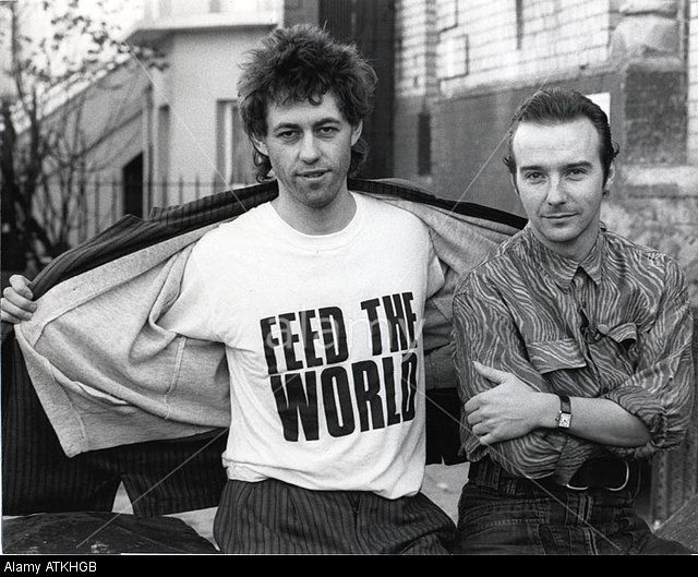 BAND AID Bob Geldof left and Midge Ure in 1984 promoting the charity