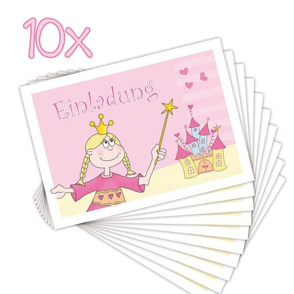 10 Einladungen Zum Kindergeburtstag PRINZESSIN