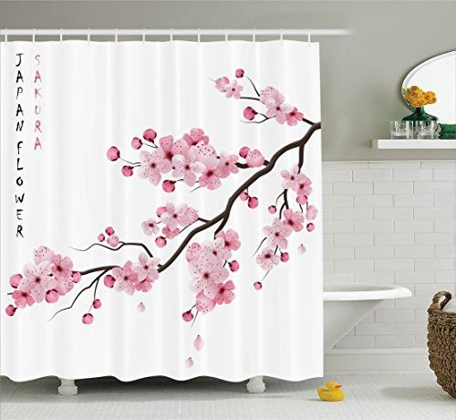 Asian Decor Shower Curtain Set By Ambesonne, Illustration Of Japanese Cherry Branches With Blooming Flowers Spring Decorative Boho Art, Bathroom Accessories, 69W X 70L Inches, Pink White