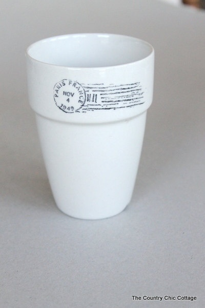 Paris France French Postmark Stamped Ceramic Flower Pot or Candle Holder Perfect for Weddings