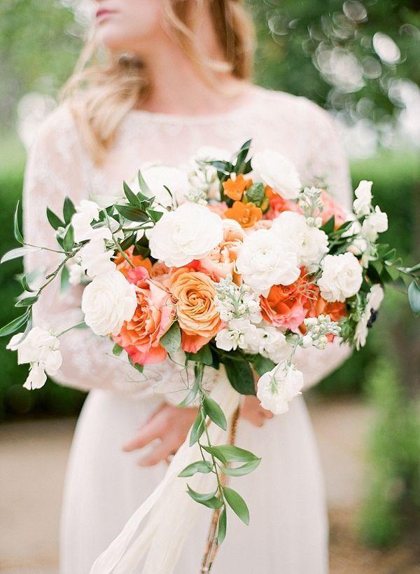 Orange and white bouquet    #wedding #weddingideas #aislesociety #cake #weddingcake #citrus