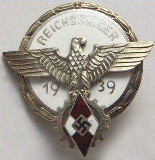REICHSSIEGER 1939 HITLERJUGEND NSDAP BADGE GERMAN WW2  PRICE $49