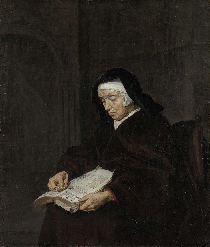 Oude vrouw in overpeinzing, Gabriël Metsu, 1660