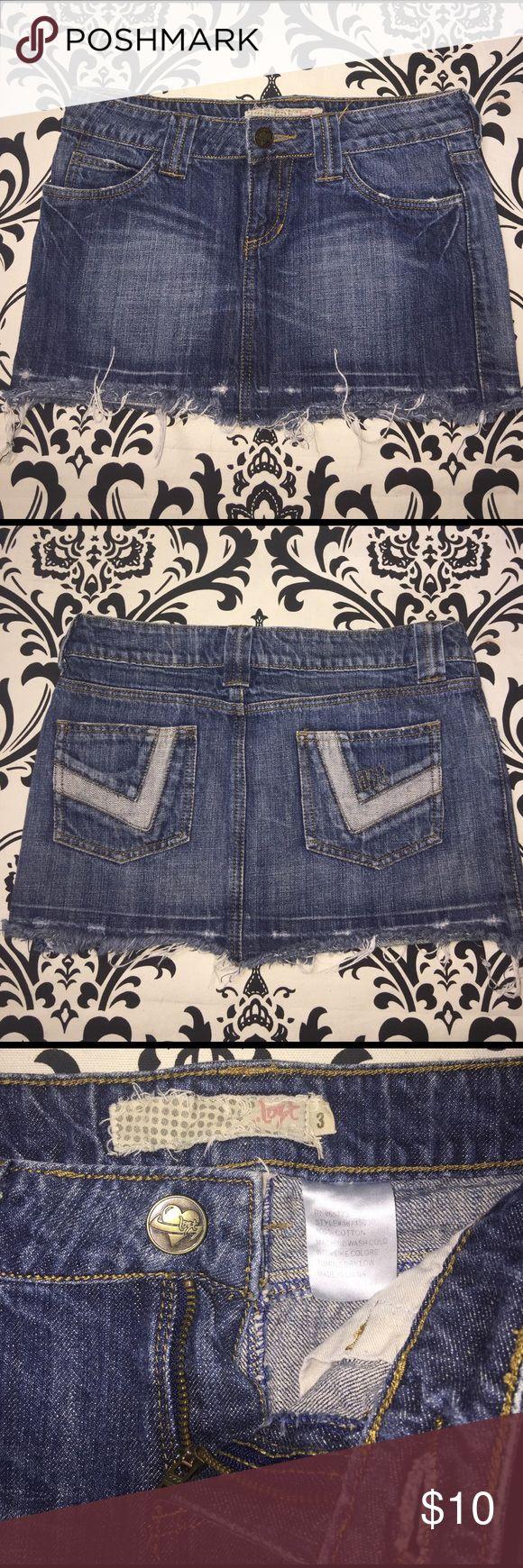 Lost... distressed Jean skirt junior size 3 Lost Jean skirt junior size 3. Distressed on the hem. Lost Skirts Mini