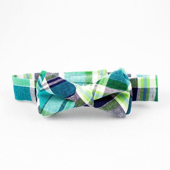 Green Plaid Boys Bow Tie Adjustable