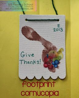 Foot Print Cornucopia Thanksgiving Craft |Still Playing School