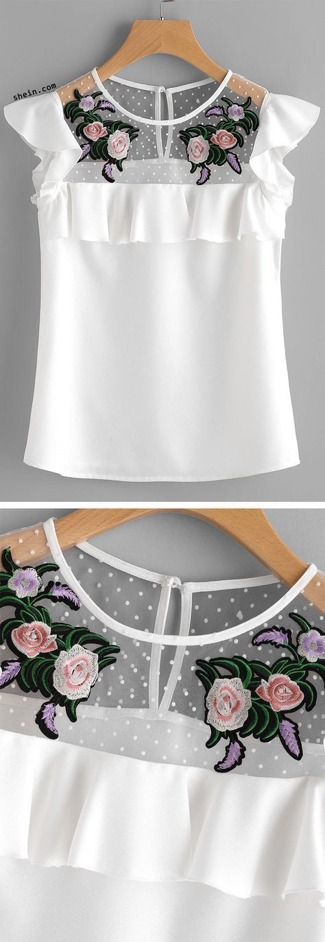 Flower Patched Dot Mesh Yoke Frill Cap Sleeve Top