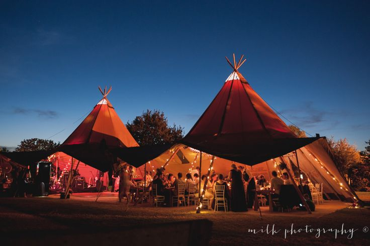Tipis at night, Old Cheese Factory Berwick. Jess & Mic's wedding