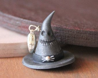 Polymer clay witch hat charm. Polymer clay charms by Burgundy Pumpkin