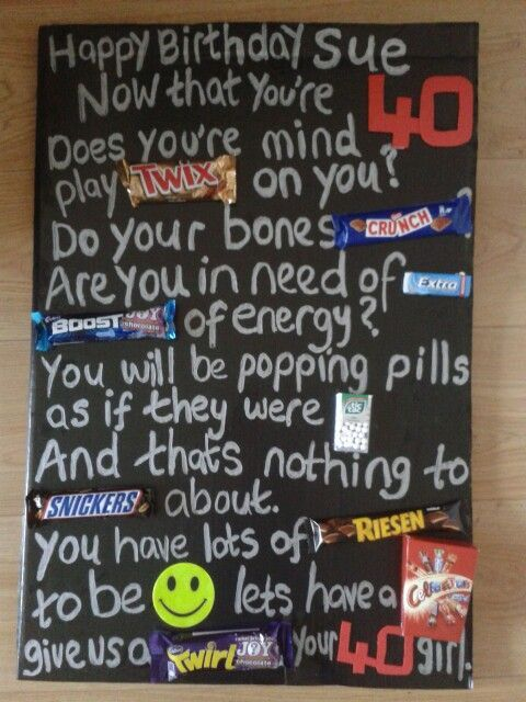40th birthday message with chocolate bars - Google Search