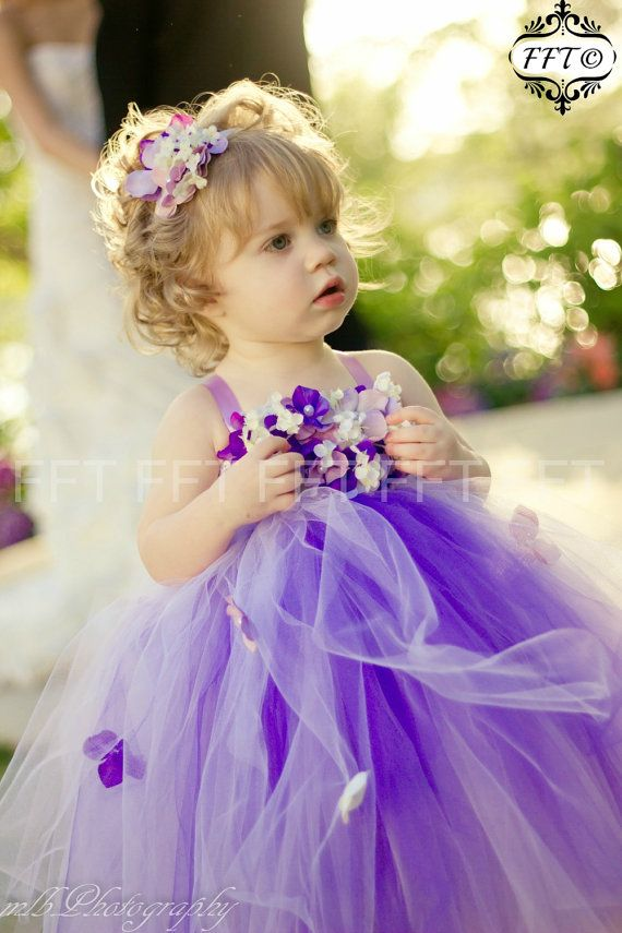 Purple Flower Girl Dress Lavender Ombre Tutu by FrillyFairyTales
