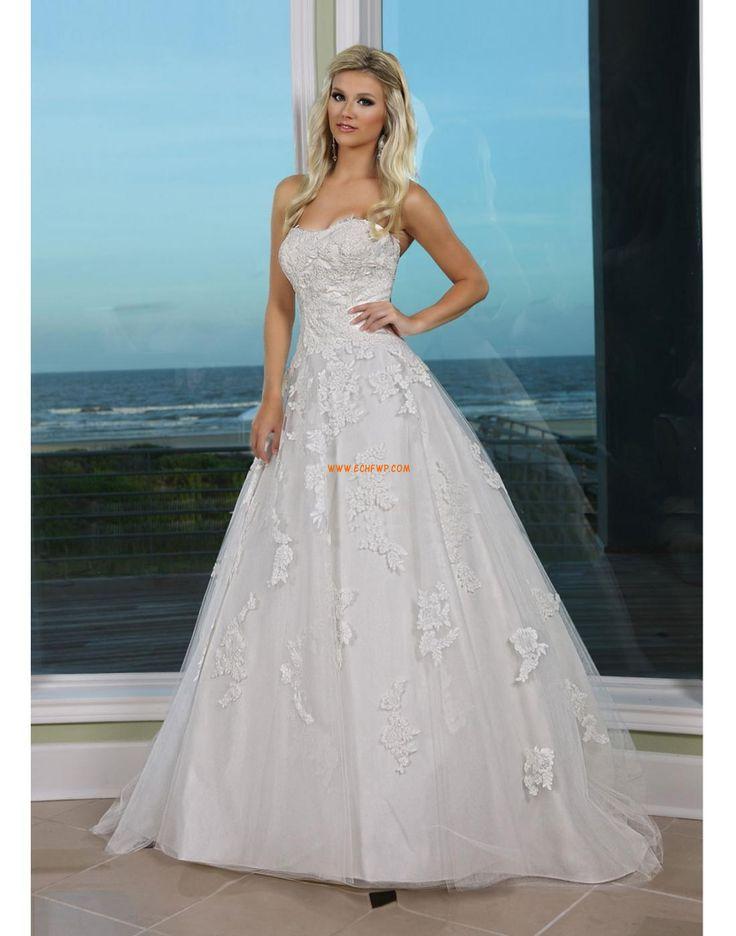 Tengerpart / Távoli helyszín Cipzár Természetes Évjárat Menyasszonyi ruhák