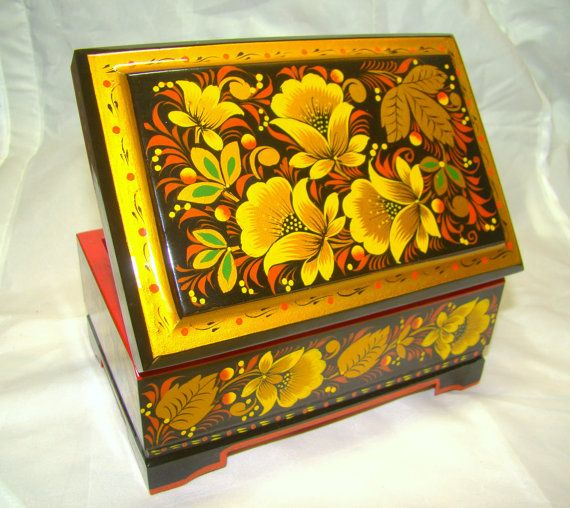 Russian hand painted lacquer wooden box / by SaskiaVanRijn, $115.00