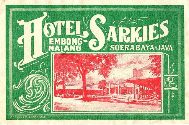 Rare luggage label for The Hotel Sarkies in Soerabaya Java