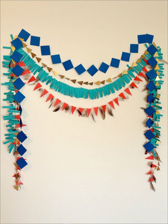 Tribal Geometric Paper Garland Set - Paper Backdrop, Cowboys and Indians Party, Pow Wow Party, Baby Shower. Birthday Garland. Photo Prop