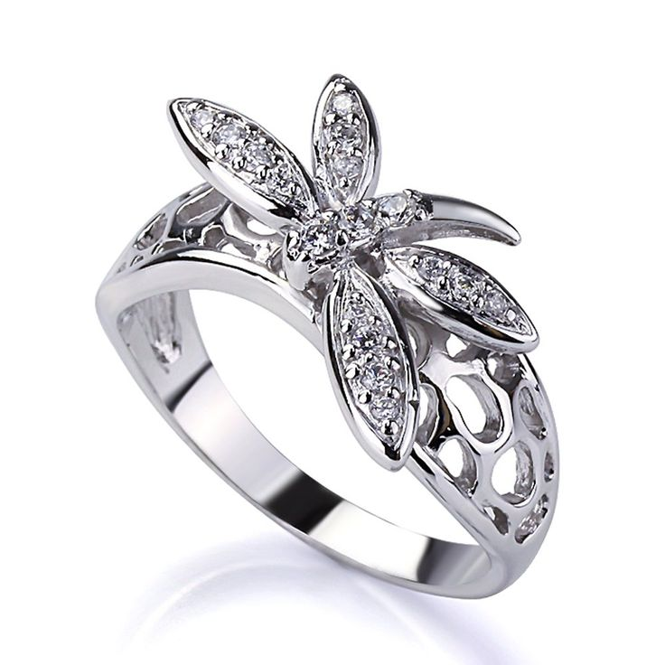 Sterling Silver Round Cubic Zirconia Pave Setting Dragonfly Ring 11MM ( Size 5 to 9 ), 7