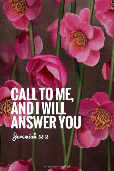 ❥ Call to me and I will answer you, and will tell you great and hidden things that you have not known. (Jeremiah 33:3 ESV)
