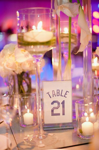 Jersey Table Numbers for a hockey-themed event or wedding.  sports weddings, sport themed wedding ideas #wedding