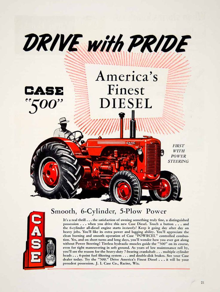 1955 Ad Diesel Drive Pride Case Tractor 5-Plow Racine Red Farming machinery Man
