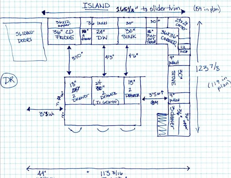 Kitchen Layout Dimensions With Island