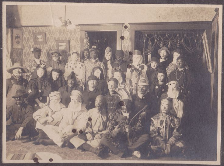 An amazing antique photo of people in costume at an 1800s ...
