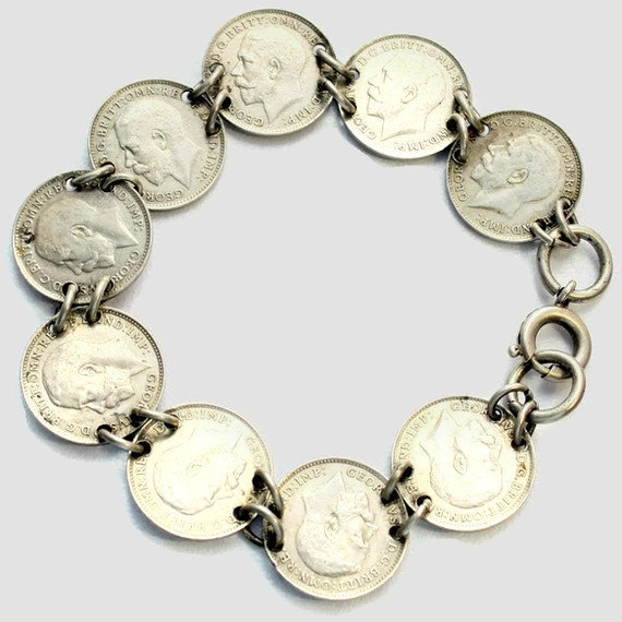 Antique Vintage Silver Coin Bracelet Threepence 1916 King George Has Anyone Got Change Coins