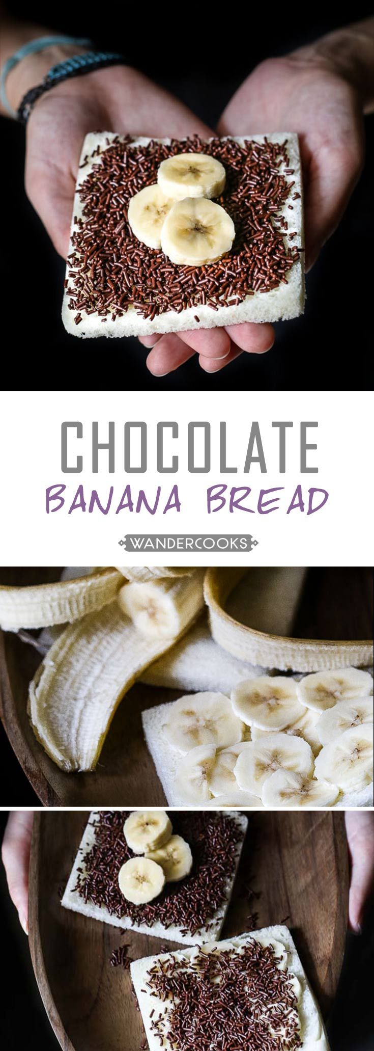 Indonesian Chocolate Banana Bread (Roti Pisang Coklat) - Chocolate for breakfast? YES PLEASE. This sweet come slightly healthy meal is found throughout Indonesia. Vegetarian. | wandercooks.com