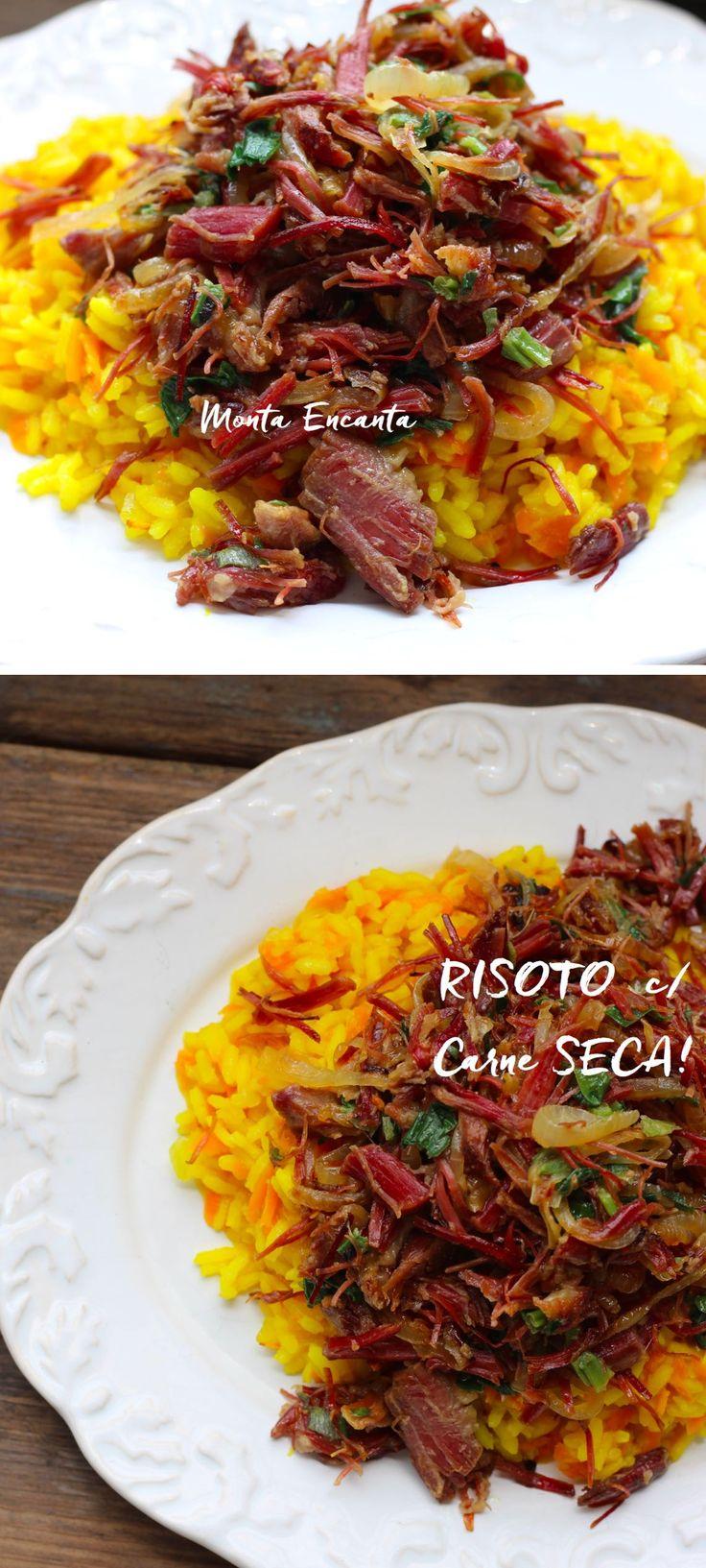 Risoto com Carne Seca saboroso, refogado com cebolas caramelizadas e servido sobre um delicioso risoto amarelinho de cúrcuma fresca, cremoso e al dente.