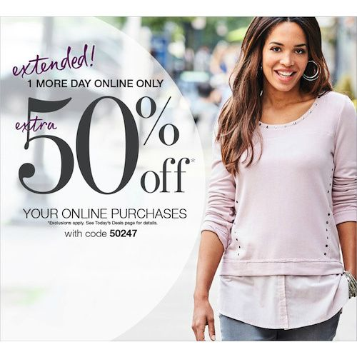 Stage Store : 50% off any order  http://www.mybargainbuddy.com/stage-stores-50-off-any-order