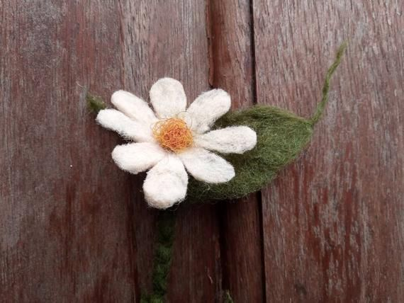 Hand made felted. Vintage profession Wild flower brooch or hair clip or bookmark