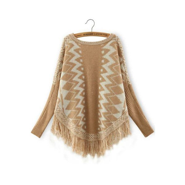 SheIn(sheinside) Yellow White Geometric Print Batwing Tassel Sweater ($20) ❤ liked on Polyvore featuring tops, sweaters, yellow, batwing sweater, yellow top, white sweater, vintage poncho and long sleeve sweaters