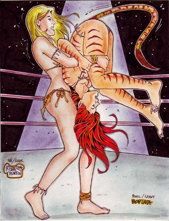 Sexy anime catfight