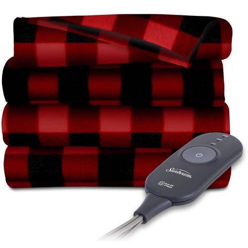 Sunbeam Electric Heated Throw Blanket Warming Heat Fleece Throws Red NEW #1