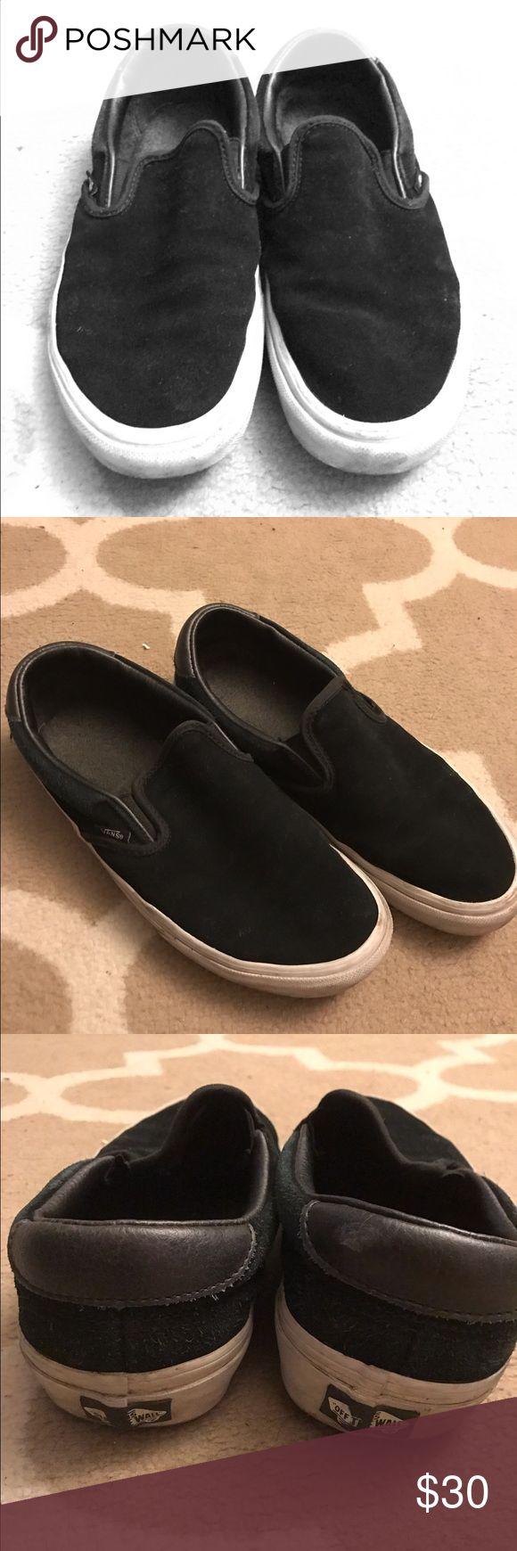 vans black slip on