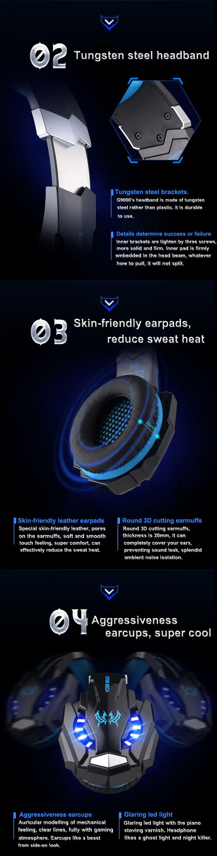 G9000 Gaming Headphone Headset Earphone Headband with Mic Stereo Bass LED Light