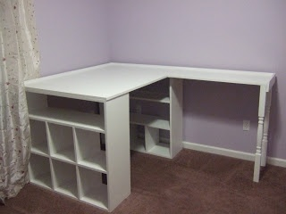 DIY Craft Desk; premade shelving, plywood and table legs. Doing this!