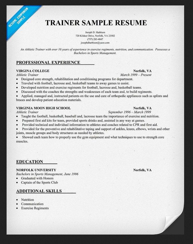 122 best Athletic Training images on Pinterest Health, Anatomy - trainer resume sample