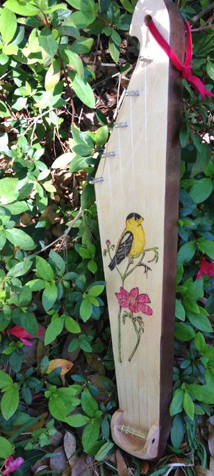 5-string kantele with pyrography -- goldfinch & thistle.