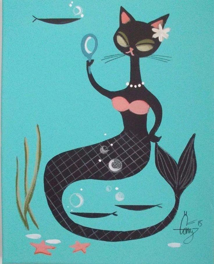 EL GATO GOMEZ PAINTING RETRO KITSCHY 1950S HULA GIRL MERMAID STARFISH TIKI CAT #Modernism
