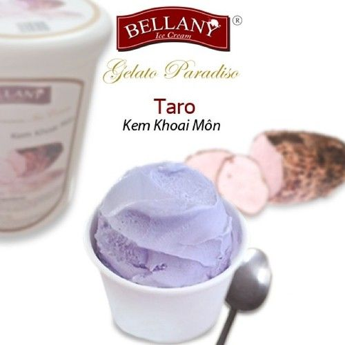 Bellany Taro ice cream - is fleshy aroma of taro ice cream blended with a smooth texture. Deliciousness, nutritious of taro ice cream will be the best candidate on the dessert menu for your family!  #taroicecream, #bellanyicecream, #kemkhoaimon, #dessertmenu, #kemcaocap, #premiumicecream