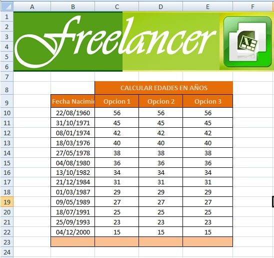 Para calcular el número de años, transcurridos entre dos fechas en Microsoft Excel se puedes utilizar las siguientes funciones: SIFECHA, HOY, AÑO, ENTERO, DIAS360, en esta publicación veremos tres formas de calcular los años.