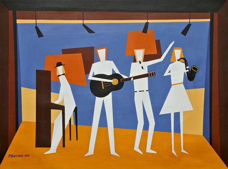 The Quartet, acrylic paint on cotton canvas....