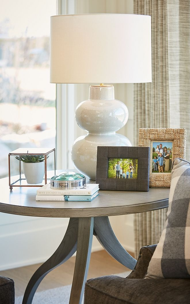 Love The Soft Color Combination Displayed Here Round Table Decor Interior Design Farmhouse End Tables #round #living #room #end #tables
