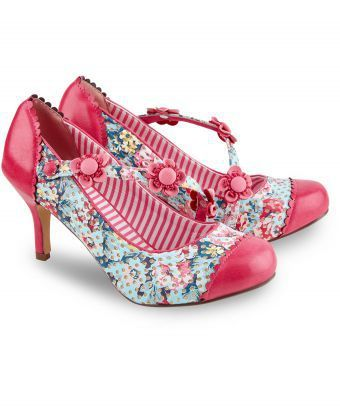 Beautiful and individual, you can't help but love these pretty shoes. With a gorgeous glittery print and a diagonal strap adorned with flowers, they've got a little bit of everything for a look with a lot of personality. Heel height: 8cm